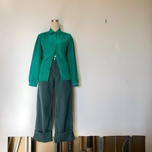 Sears The Fashion Place - Vintage Green Button Up